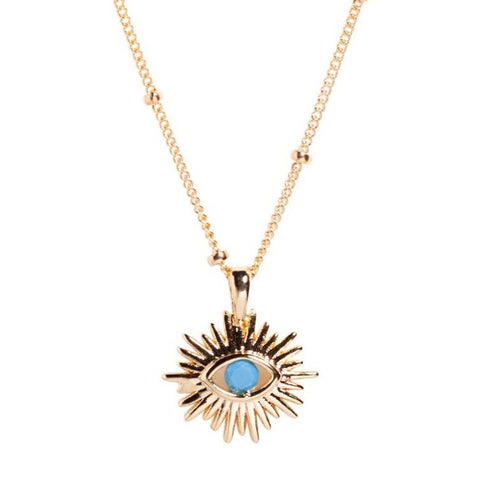 Eye of Ra Necklace in Blue CZ