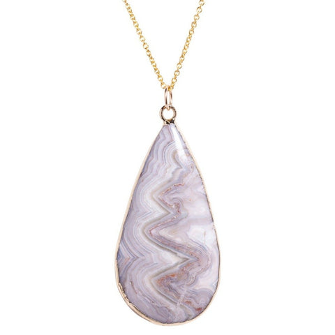 Long Marble Agate Necklace