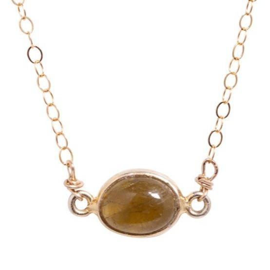 Margaret Necklace in Olive Tourmaline - Waffles & Honey Jewelry