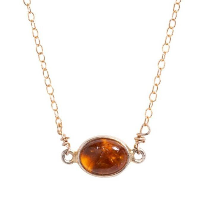 Margaret Necklace in Orange Tourmaline - Waffles & Honey Jewelry