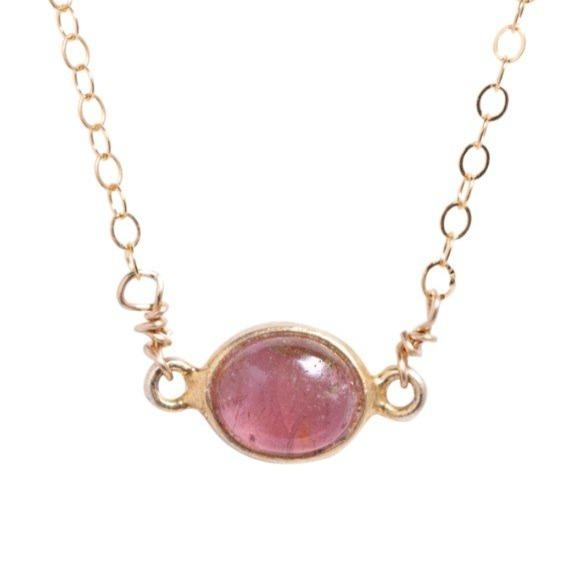 Margaret Necklace in Pink Tourmaline - Waffles & Honey Jewelry