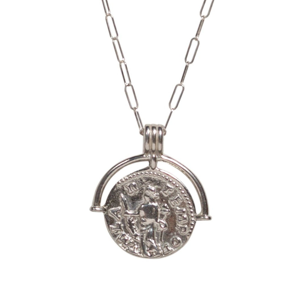Talisman Coin Necklace in Silver - Waffles & Honey Jewelry