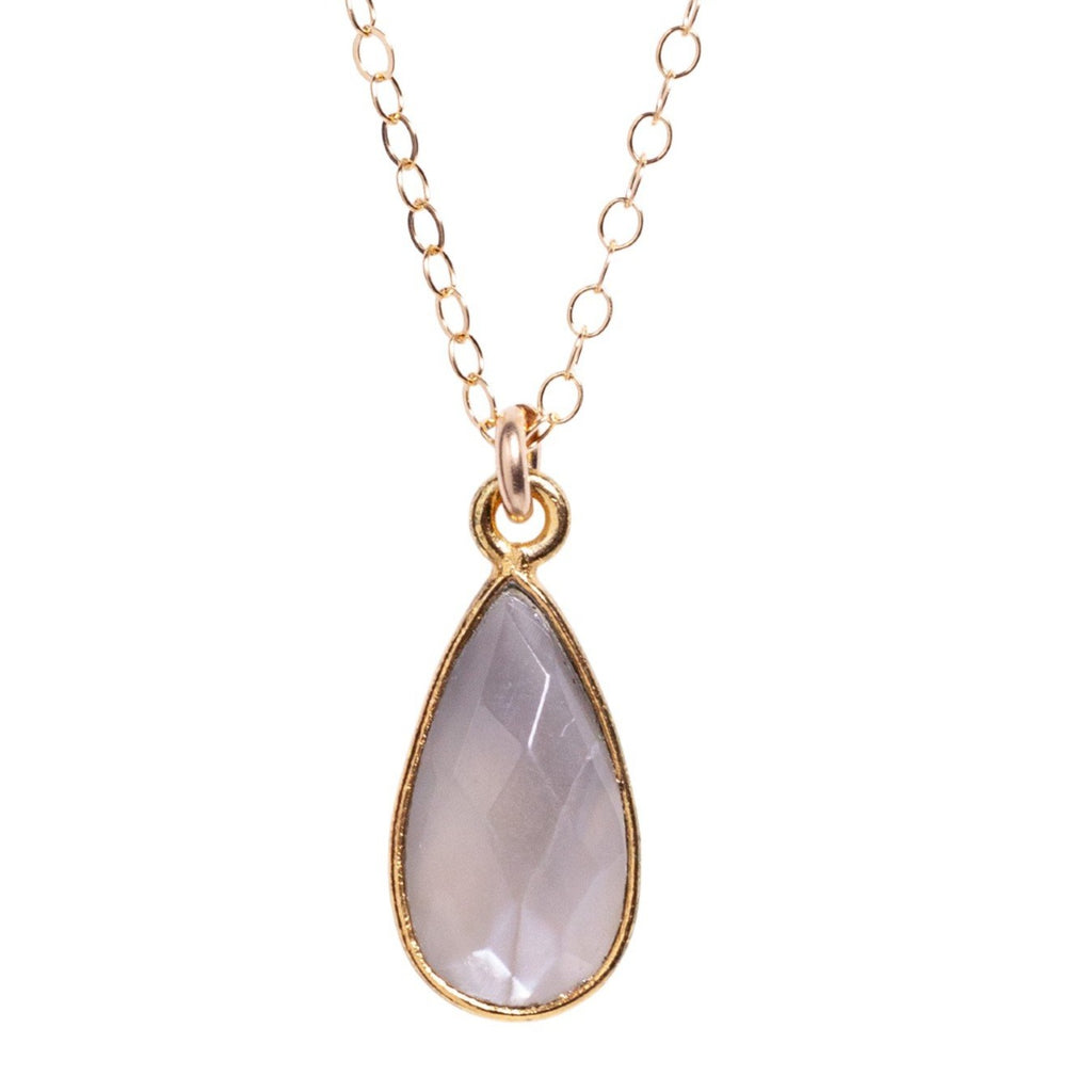 Mystic Moonstone Mini Teardrop Necklace