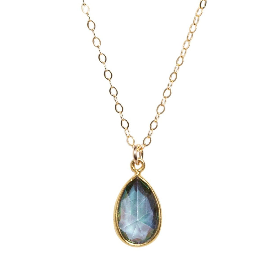 Mystic Rainbow Topaz Necklace in Gold - Waffles & Honey Jewelry
