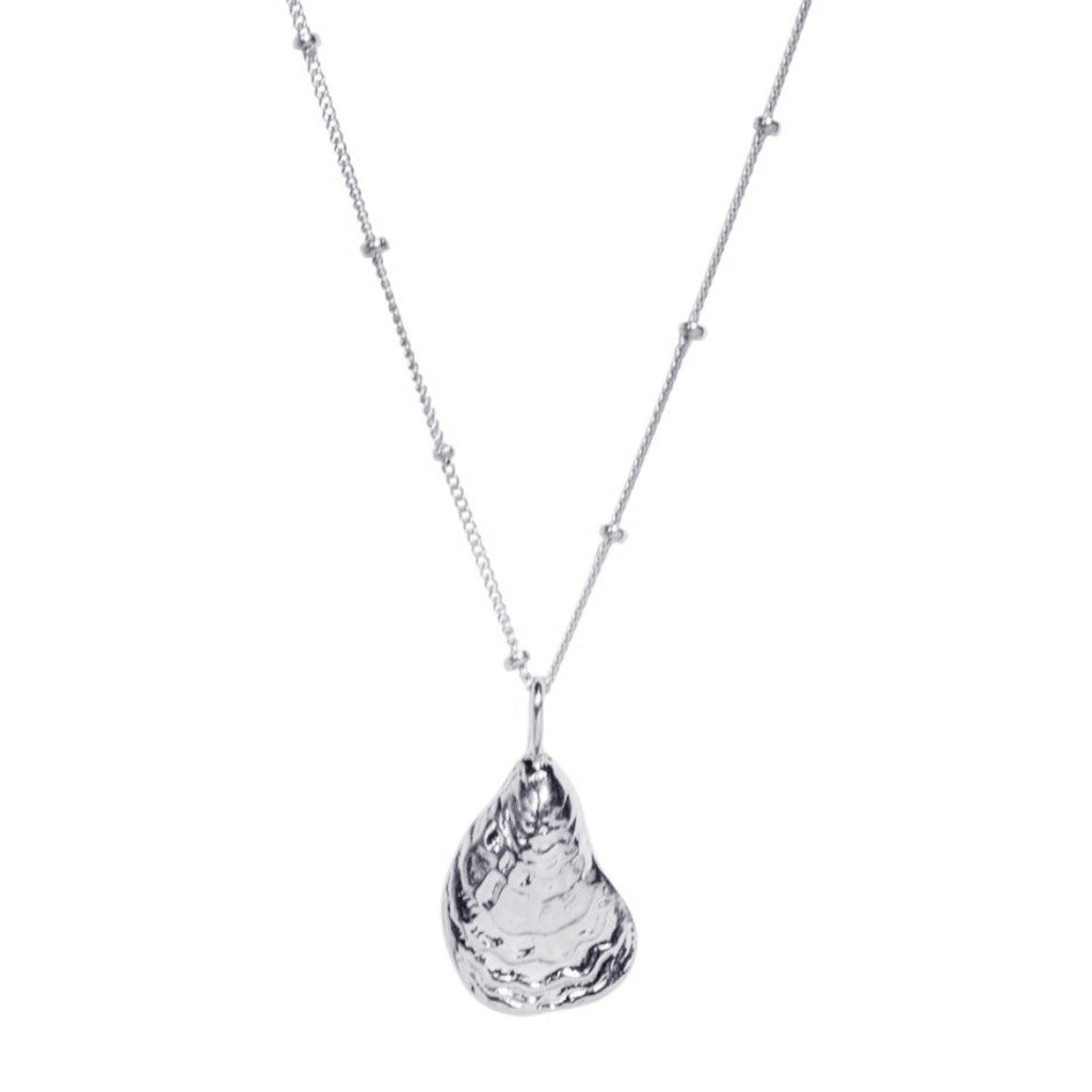 Oyster Shell Necklace in Silver - Waffles & Honey Jewelry