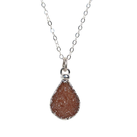 Peach Druzy Teardrop Necklace in Silver