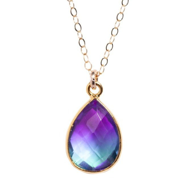 Purple & Blue Teardrop Necklace