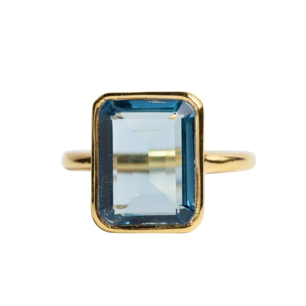 Rectangle Ring in Blue Topaz