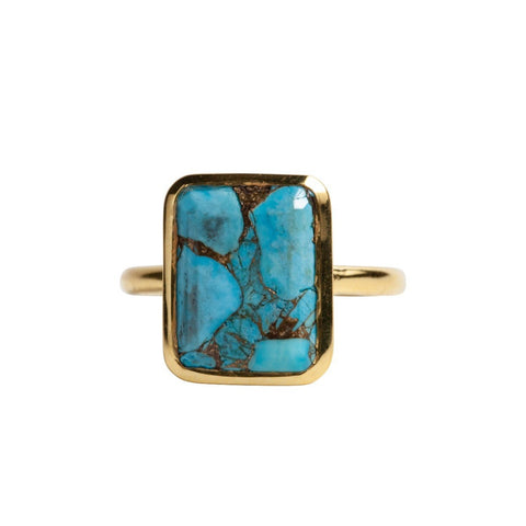 Rectangle Ring in Copper Infused Turquoise