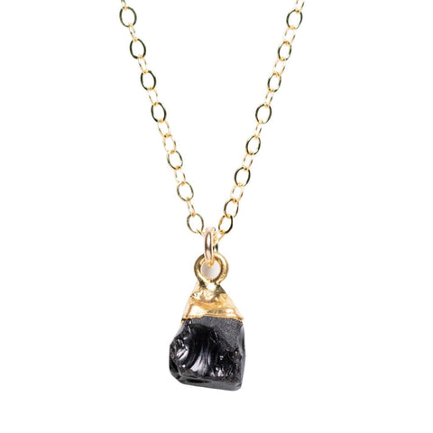 Rough Cut Onyx Necklace Gold