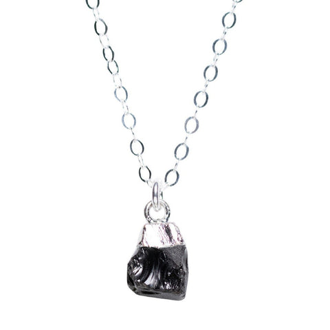 Rough Cut Onyx Necklace Silver