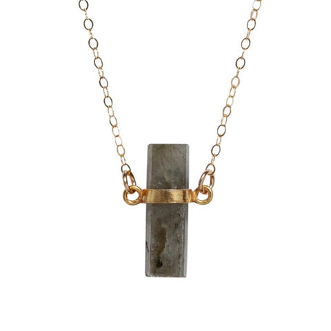 Roughcut Labradorite Cylinder Necklace