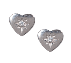 Silver Heart Stud Earrings - Waffles & Honey Jewelry
