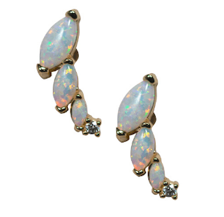 Opal Ear Crawlers in Gold - Waffles & Honey Jewelry