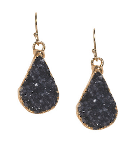 Purple Druzy Teardrop Earrings