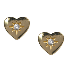Gold Heart Stud Earrings - Waffles & Honey Jewelry
