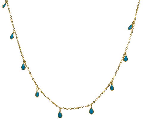 Turquoise Petal Choker in Gold