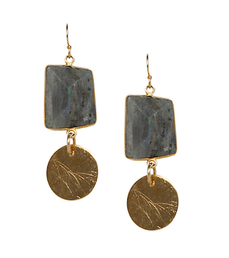 Maria Labradorite Disc Earrings