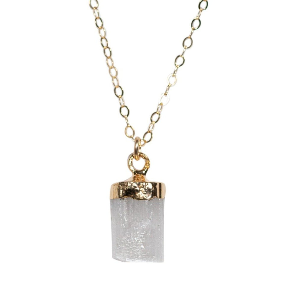 Selenite Necklace in Gold - Waffles & Honey Jewelry