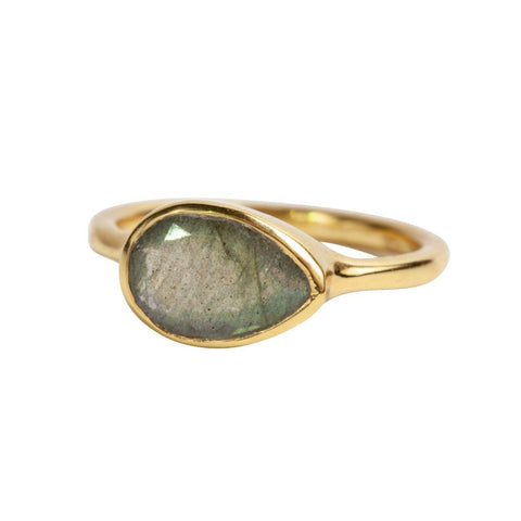 Teardrop Ring in Labradorite