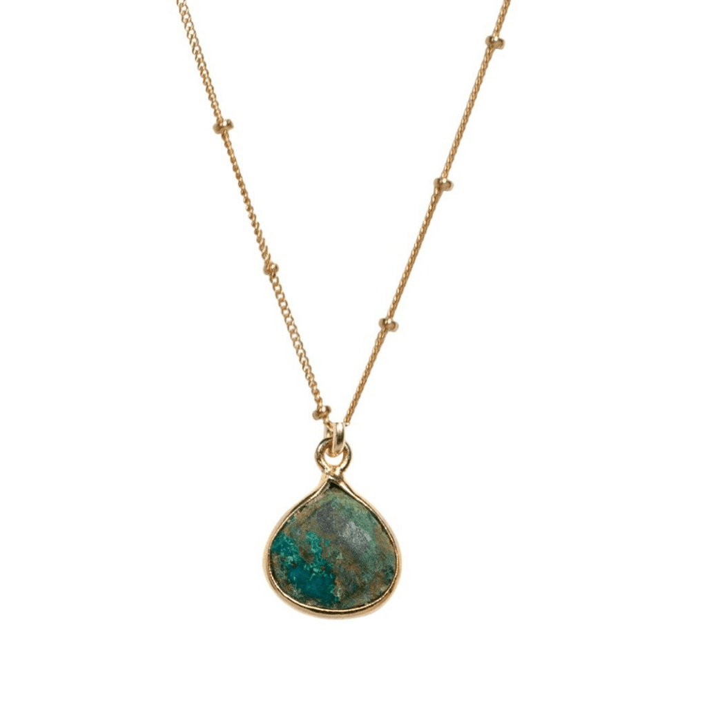 Chrysocolla Teardrop Necklace - Waffles & Honey Jewelry