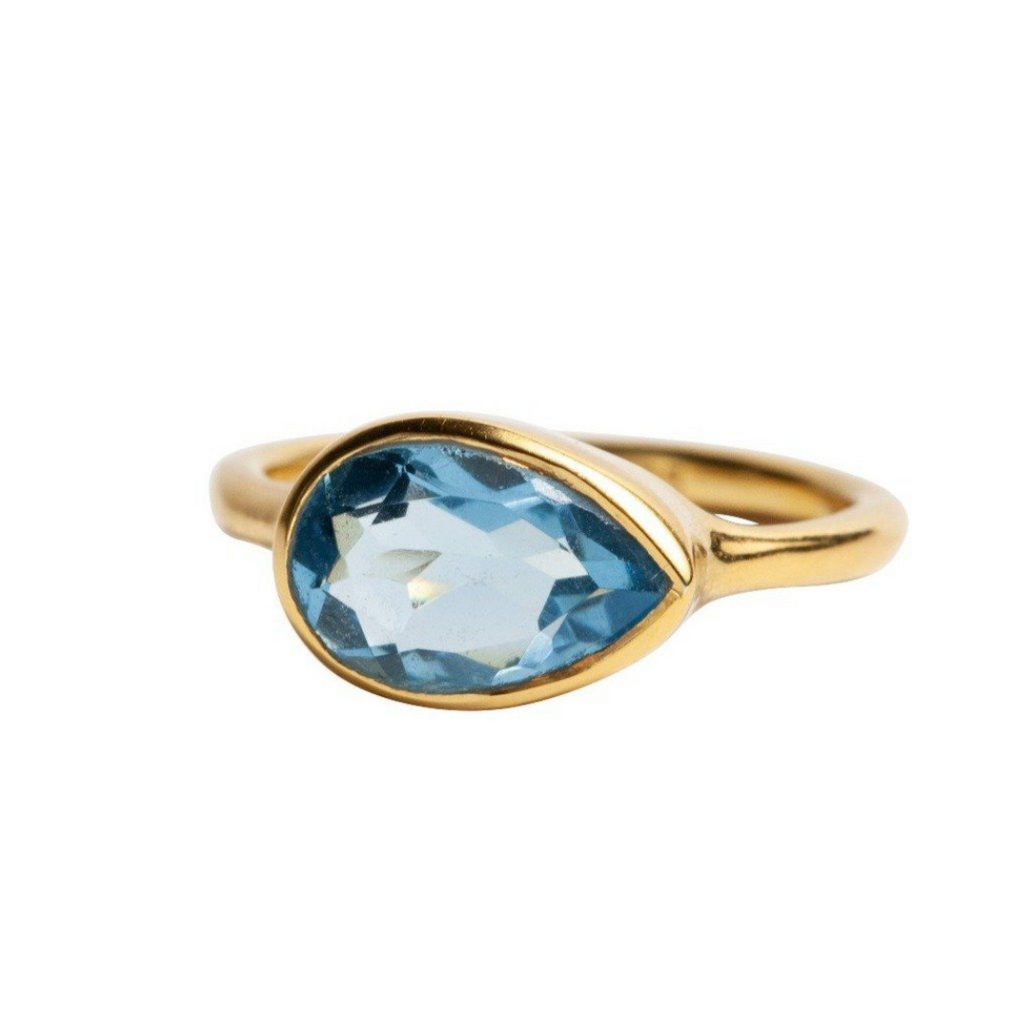 Teardrop Ring in Blue Topaz