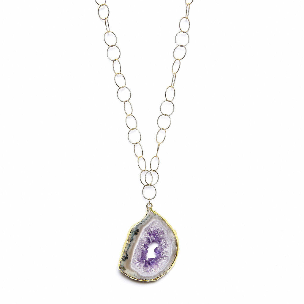 Amethyst Geode Ana Necklace-Necklaces-Waffles & Honey Jewelry-Waffles & Honey Jewelry