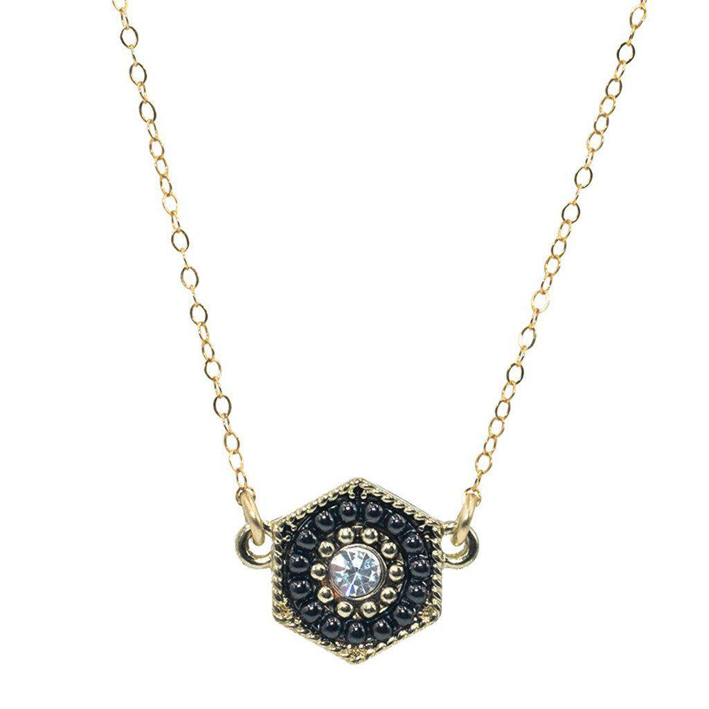 Black Hexagon Necklace-Necklaces-Waffles & Honey Jewelry-Waffles & Honey Jewelry