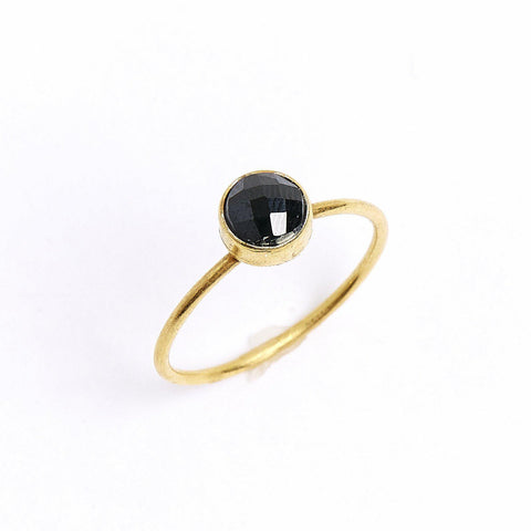 Black Spinel Circle Stacking Ring