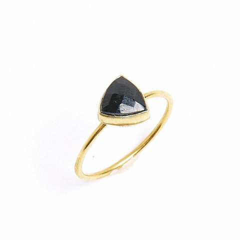 Black Spinel Triangle Stacking Ring