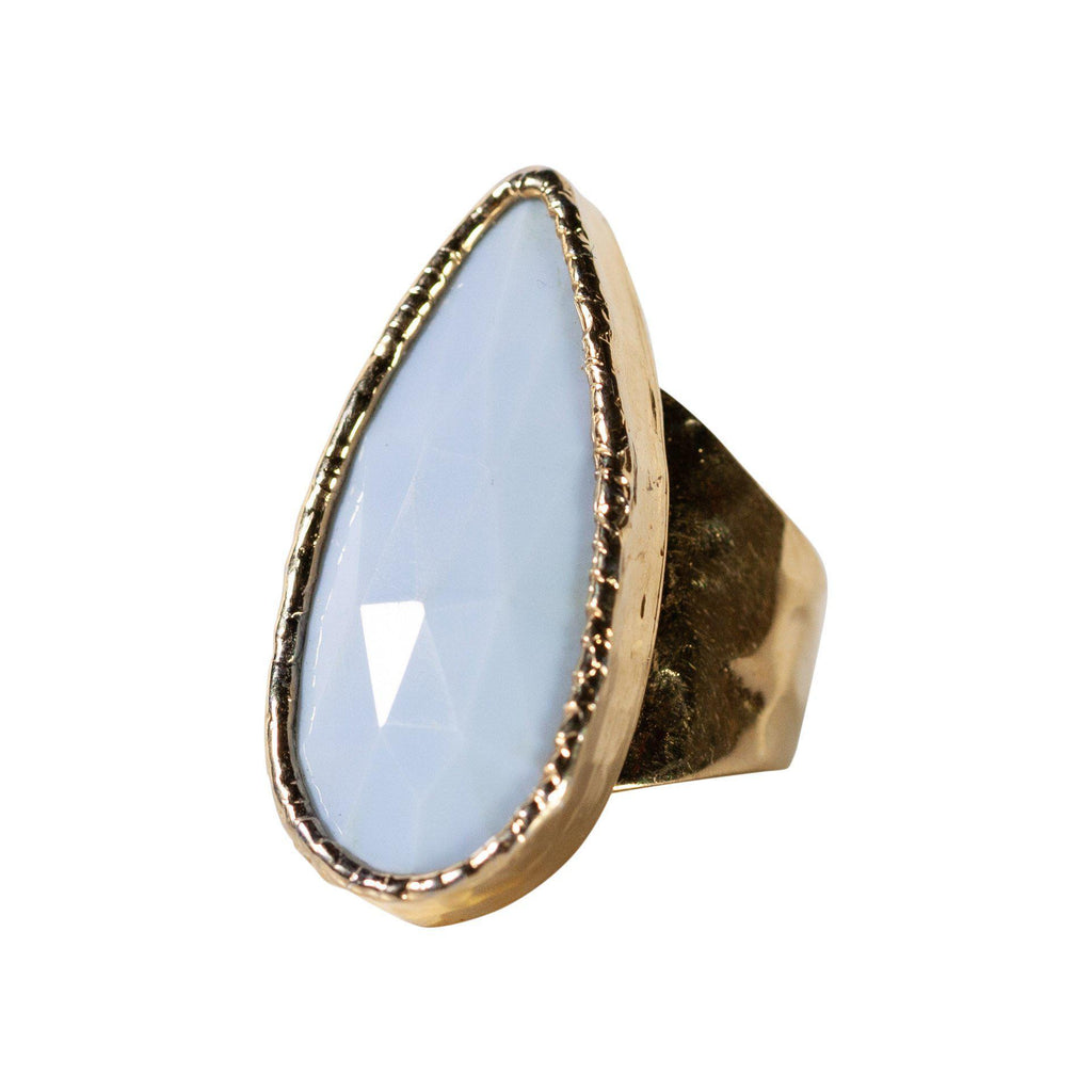 Blue Lace Agate Cocktail Ring-Rings-Waffles & Honey Jewelry-Waffles & Honey Jewelry