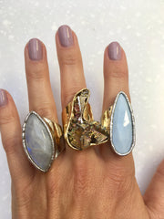 Blue Lace Agate Teardrop Cocktail Ring in Silver-Rings-Waffles & Honey Jewelry-Waffles & Honey Jewelry