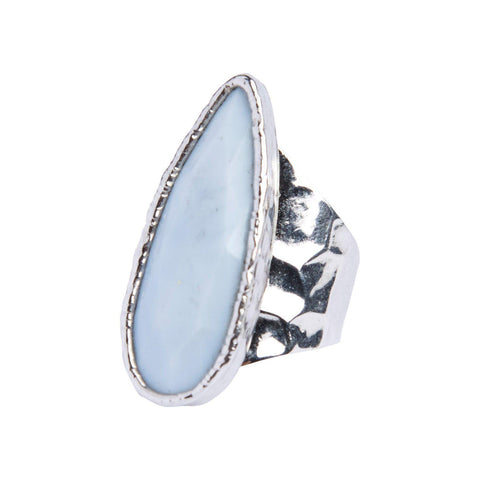 Blue Lace Agate Teardrop Cocktail Ring in Silver