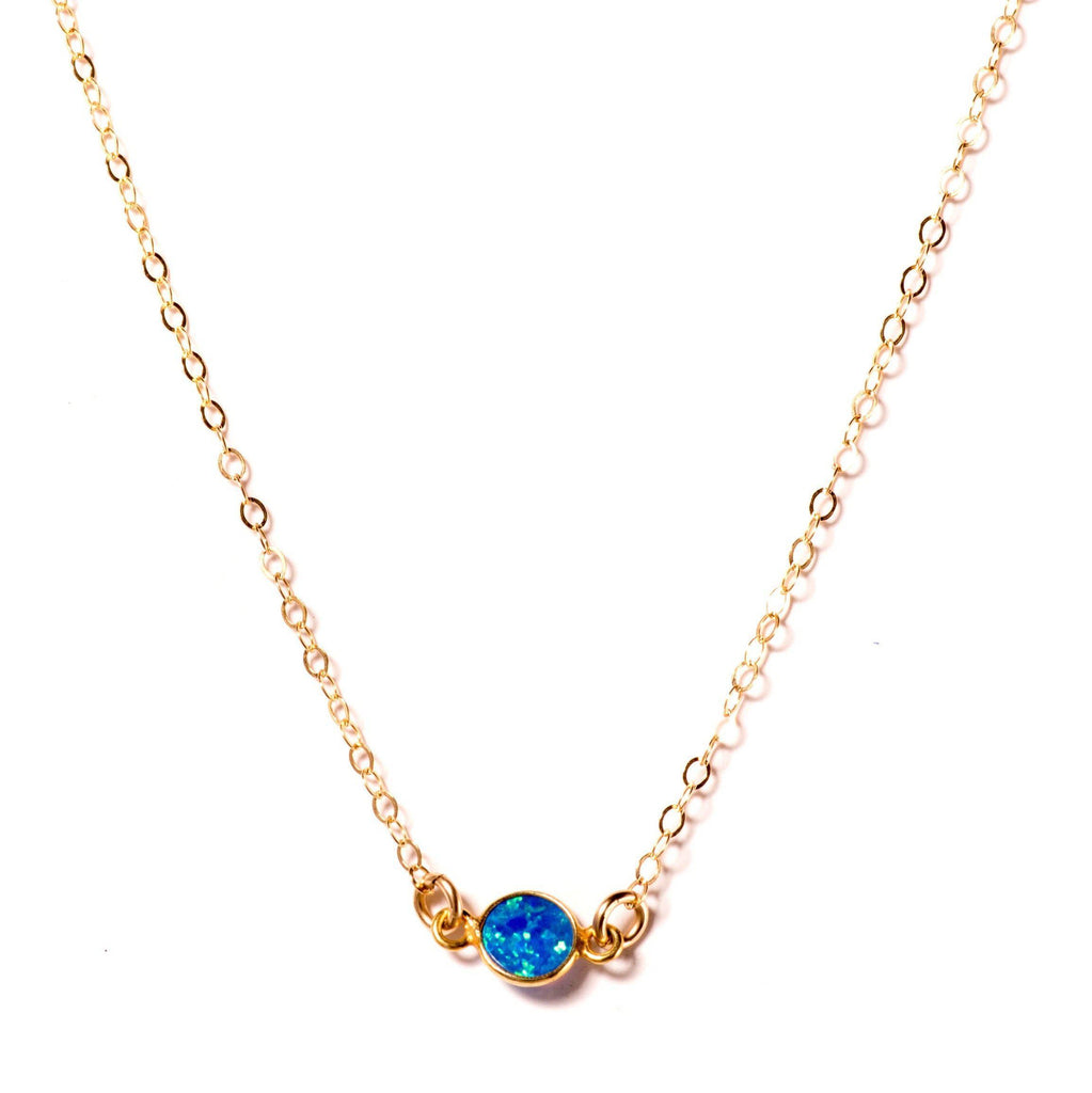 Blue Opal Solitaire Necklace-Necklaces-Waffles & Honey Jewelry-Waffles & Honey Jewelry