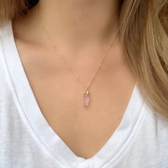 Carly Necklace in Rough Cut Rose Quartz-Necklaces-Waffles & Honey Jewelry-Waffles & Honey Jewelry