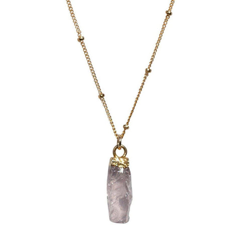 Carly Necklace in Rough Cut Rose Quartz