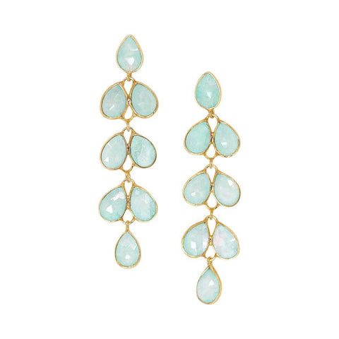 Cluster Drop Earrings in Chalcedony