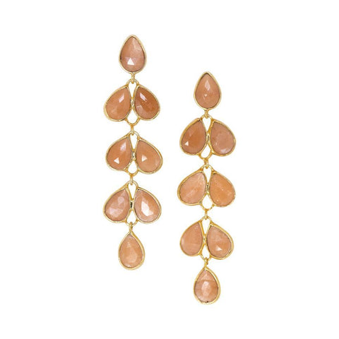 Cluster Drop Earrings in Peach Moonstone