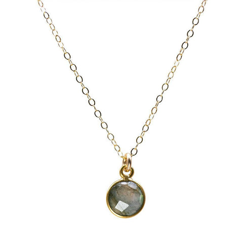 Coin Necklace in Labradorite