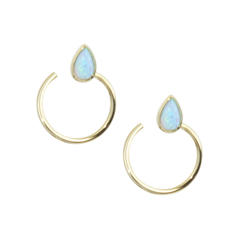 Comet Studs in White Opal