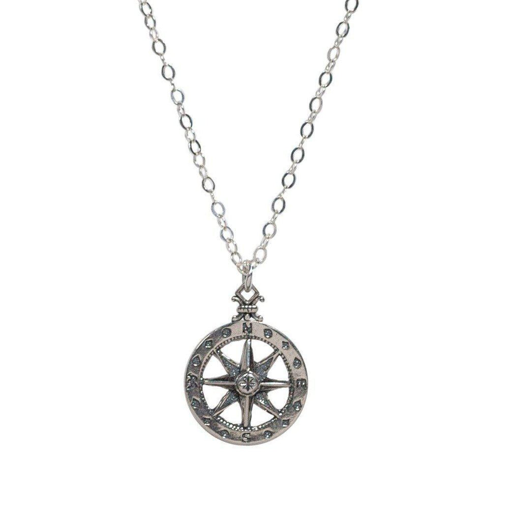 Compass Rose Necklace in Silver