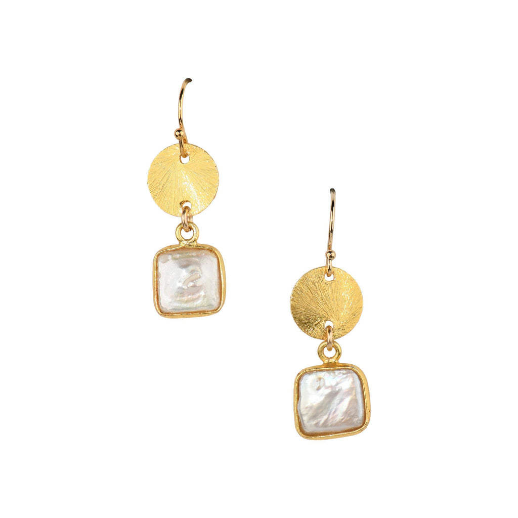 Devon Earrings in Pearl-Earrings-Waffles & Honey Jewelry-Waffles & Honey Jewelry