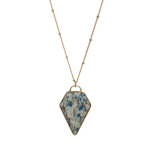Diamond Necklace in Green Azurite