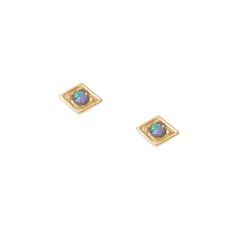 Diamond Studs with Opal-Earrings-Waffles & Honey Jewelry-Waffles & Honey Jewelry