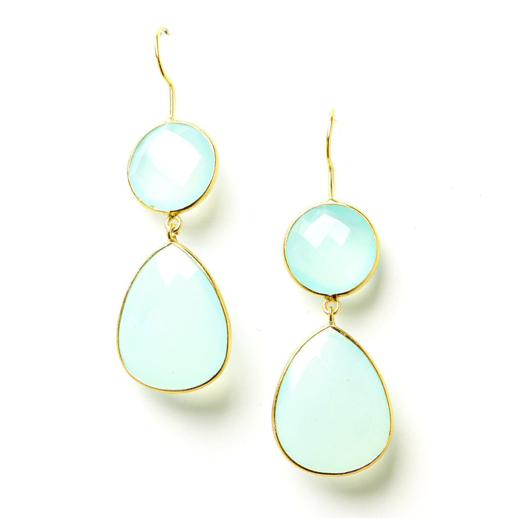 Double Drop Earrings in Chalcedony-Earrings-Waffles & Honey Jewelry-Waffles & Honey Jewelry