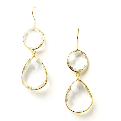 Double Drop Earrings in Crystal Quartz