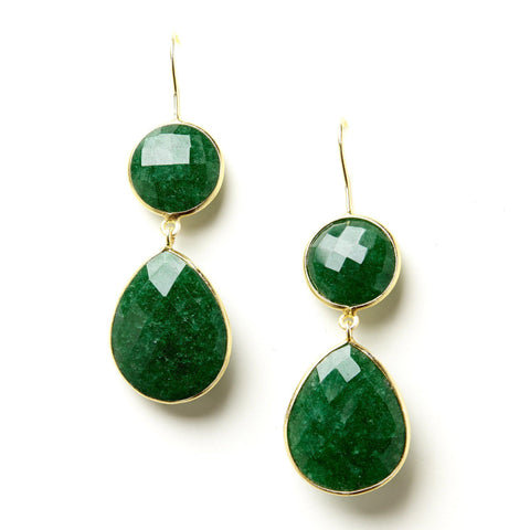 Double Drop Earrings in Emerald