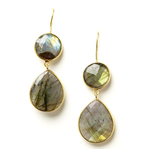 Double Drop Earrings in Labradorite