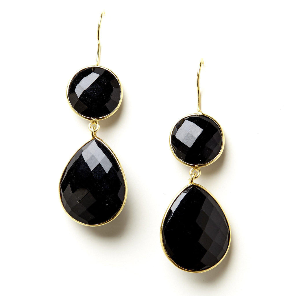 Double Drop Earrings in Onyx-Earrings-Waffles & Honey Jewelry-Waffles & Honey Jewelry