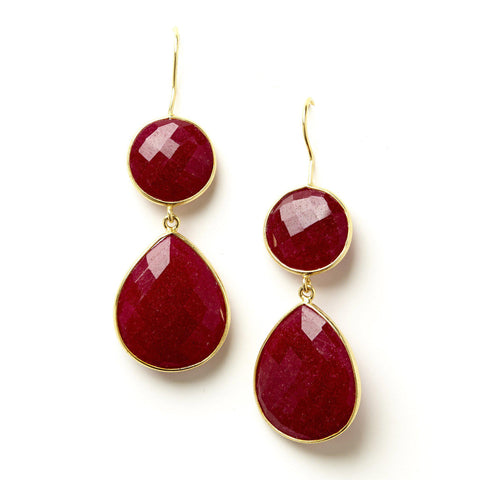 Double Drop Earrings in Ruby